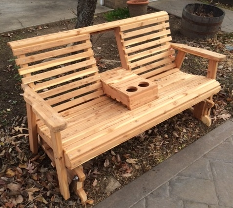 Glider Bench Rustic Wood Outdoor